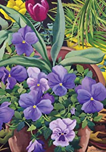 Toland Home Garden Flowerpots n Pansies 12.5 x 18 Inch Decorative Spring Potted Pansy Flower Garden Flag