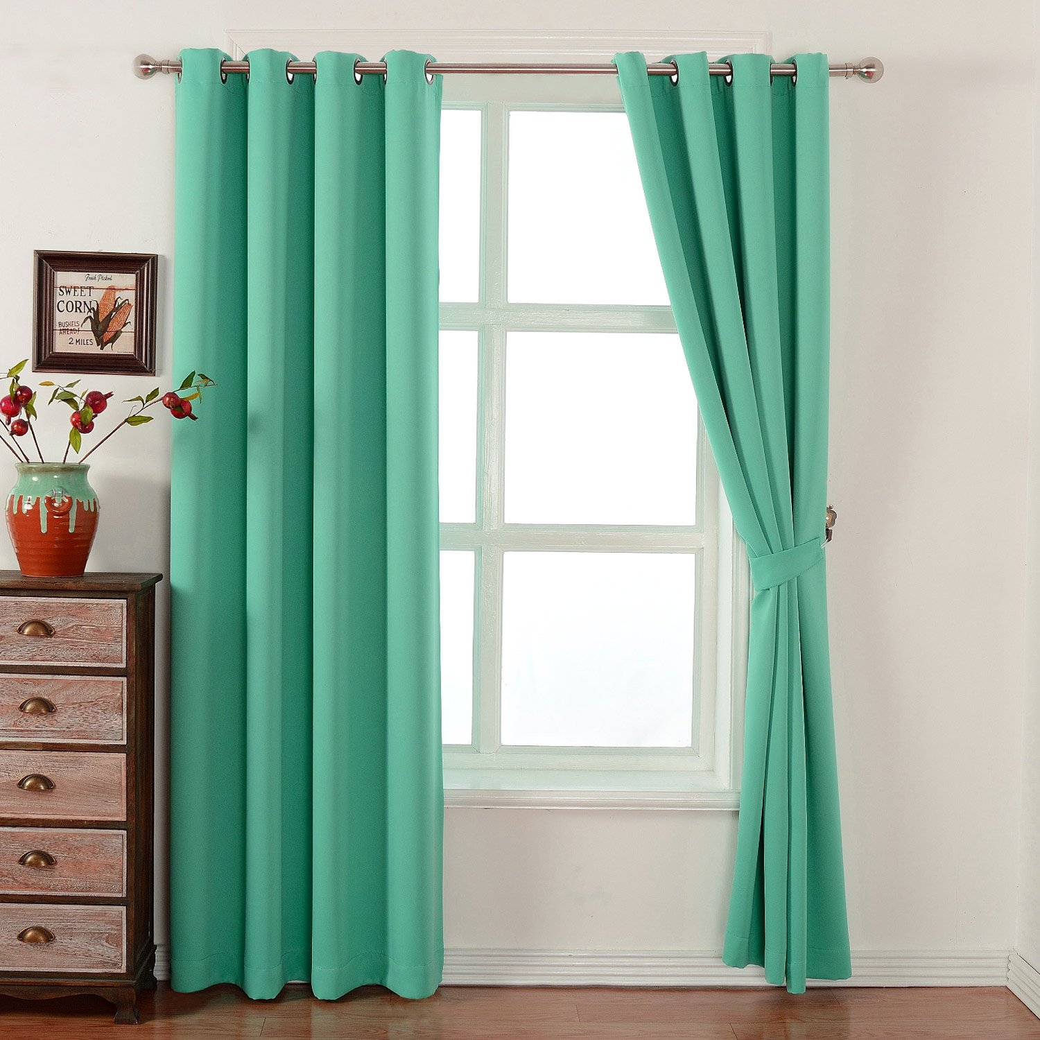 Light Teal Polyester Grommet Top Room Darkening Panels