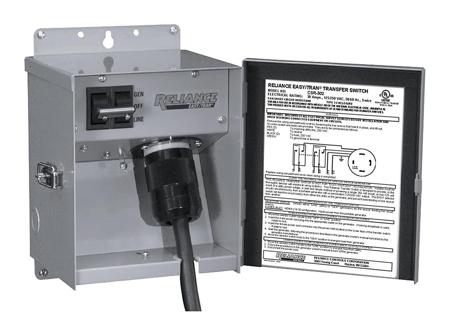 Reliance Controls Corporation CSR202 Easy/Tran Transfer Switch for  Generators Up to 5,000 Watts