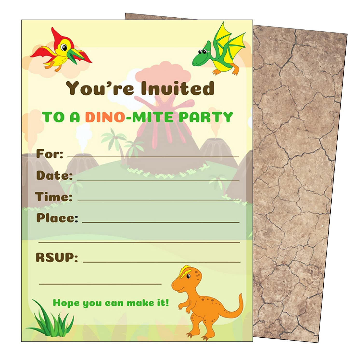 Dinosaur Birthday Party Invitations Dino Invitations Kids Dinosaur Party Invitations for Dinosaur Party Supplies Theme Decorations Boys or Girls Dino Invites Large 5x7 with Envelopes 25 Count