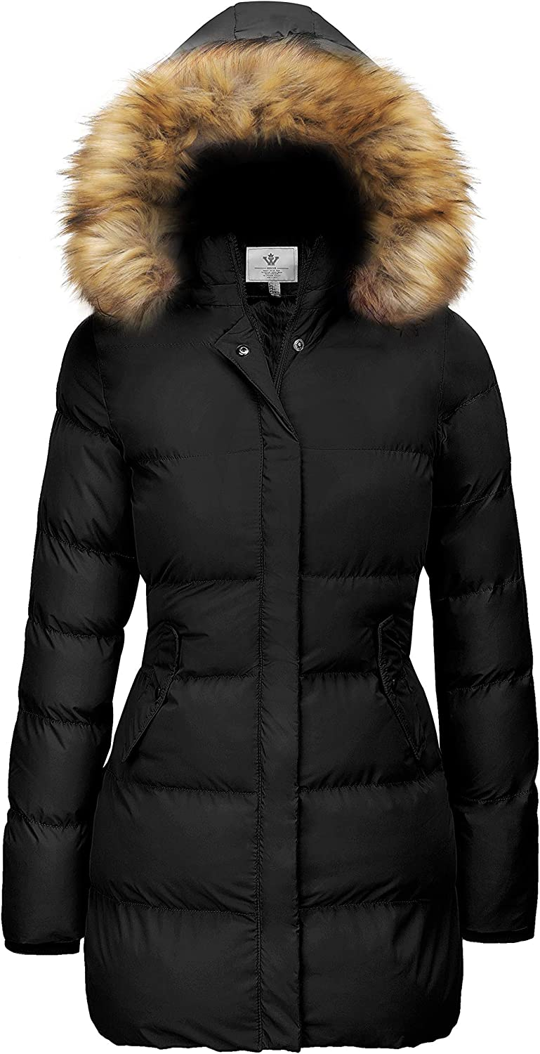 WenVen Women's Winter Thicken Puffer Coat Warm Jacket with Fur Removable Hood: Clothing