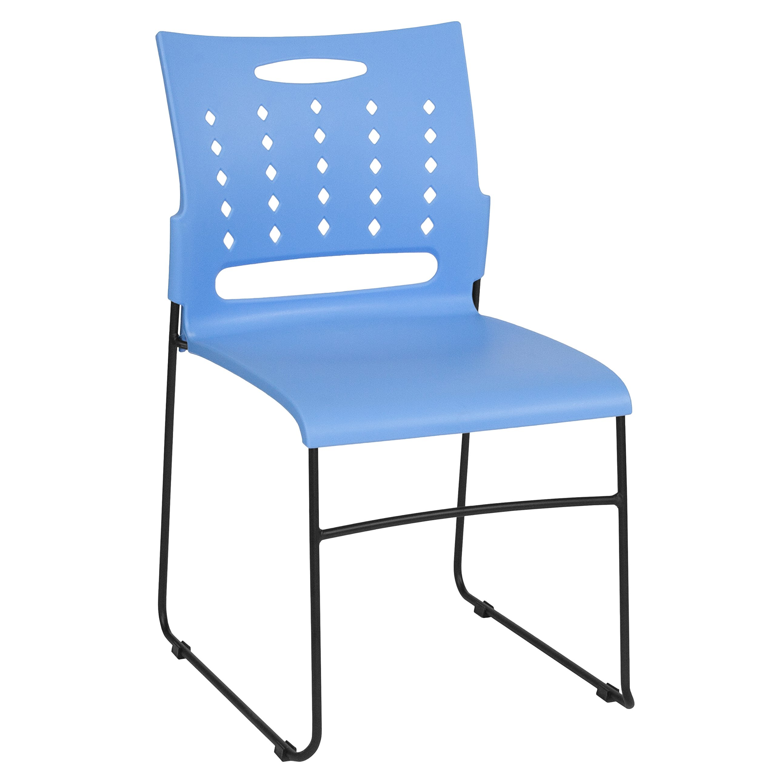 Flash Furniture RUT-2-BL-GG Blue Plastic Stack Chairs, 1 Pack,