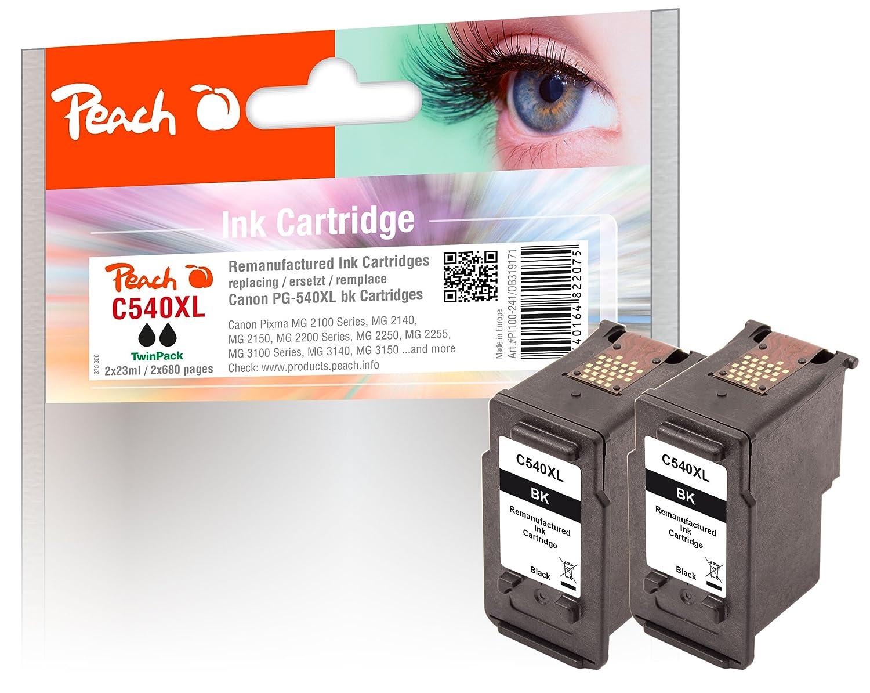 Peach doble Pack cartuchos de tinta Negro Compatible con ...