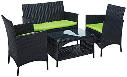 Merax 4 PCS Cushioned Outdoor PE Wicker Patio Set Garden Lawn Rattan Sofa  Furniture Conversation Set - Amazon.com: Merax 4 PCS Cushioned Outdoor PE Wicker Patio Set Garden