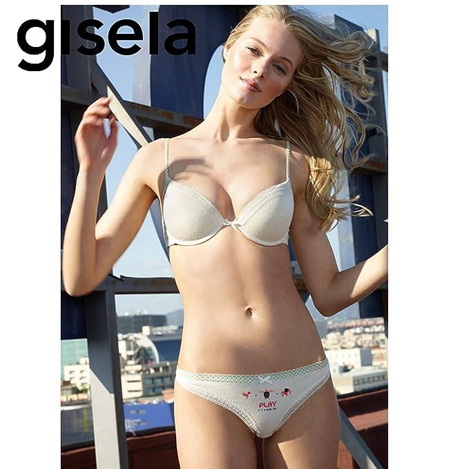 GISELA - Conjunto Sujetador Push UP Copa B Mujer Color: Estampado Talla: 85: Amazon.es: Ropa y accesorios