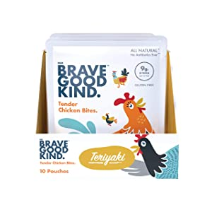BRAVE GOOD KIND Tender Chicken Bites Teriyaki Flavor, Delicious Jerky, All-Natural, Gluten-Free Protein Meat Snack with No MSG or Nitrates, 2.5 Ounces, 10-Pack