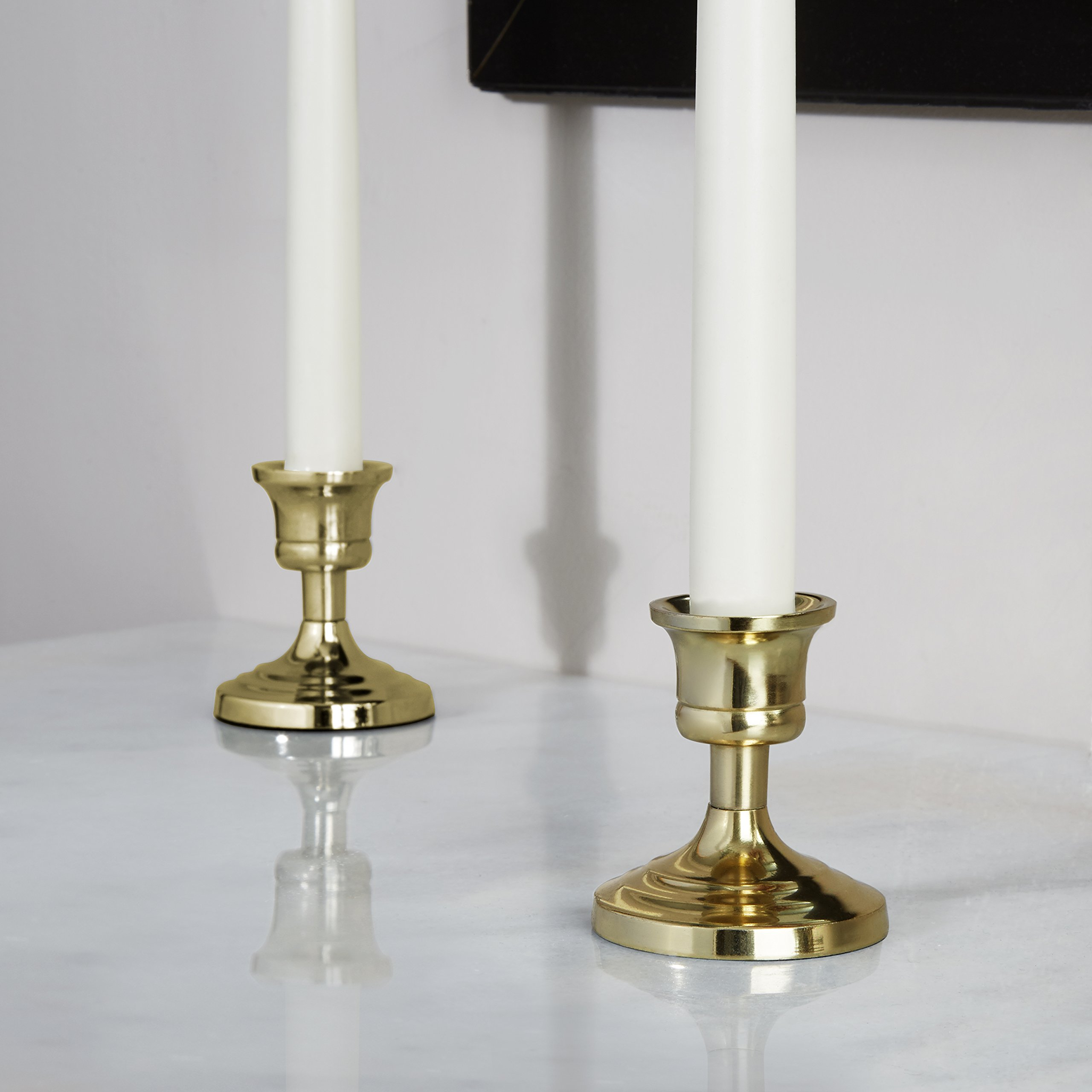 LampLust Brass Finished Taper Candle Holders, 3 Inches, Metal, Traditional Shape, Fits Standard Candlestick Diameters - Set of 2 by LampLust (Image #3)
