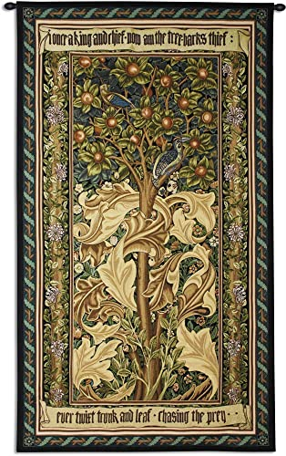 Woodpecker Gold by William Morris Arts and Crafts Style Woven Tapestry Wall Art Hanging Woodpeckers Stealing Fruit Among Acanthus Leaves 100 Cotton USA Size 72×41