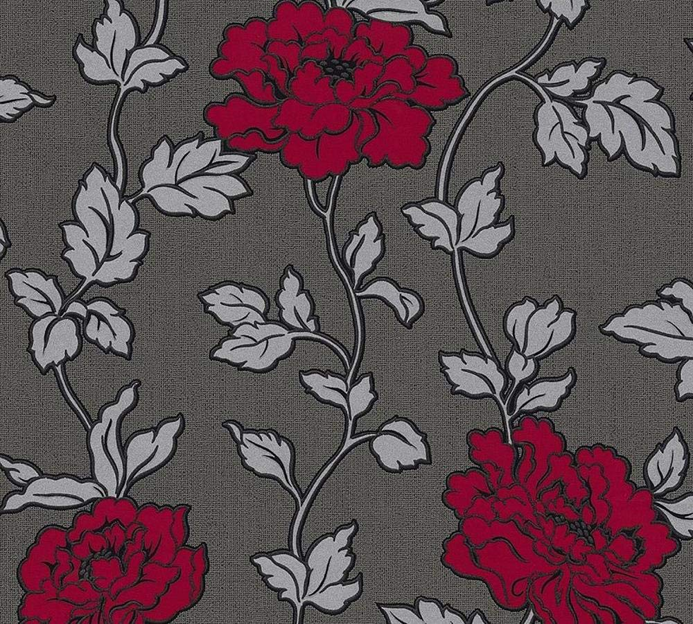 Black Grey Silver Red Floral Trail Wallpaper Glitter Shimmer Vinyl