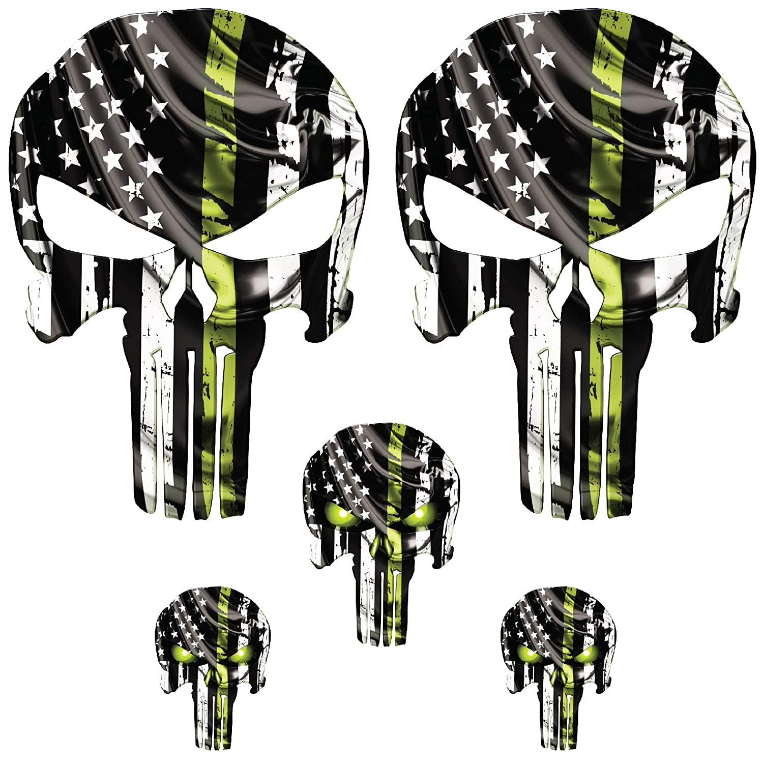 Punisher Skull Decal with Thin Blue line Cars Premium Matterials UV Protected for Helmets Bottles Laminated Medium, Black White USA Grunge Windows containter 6mil