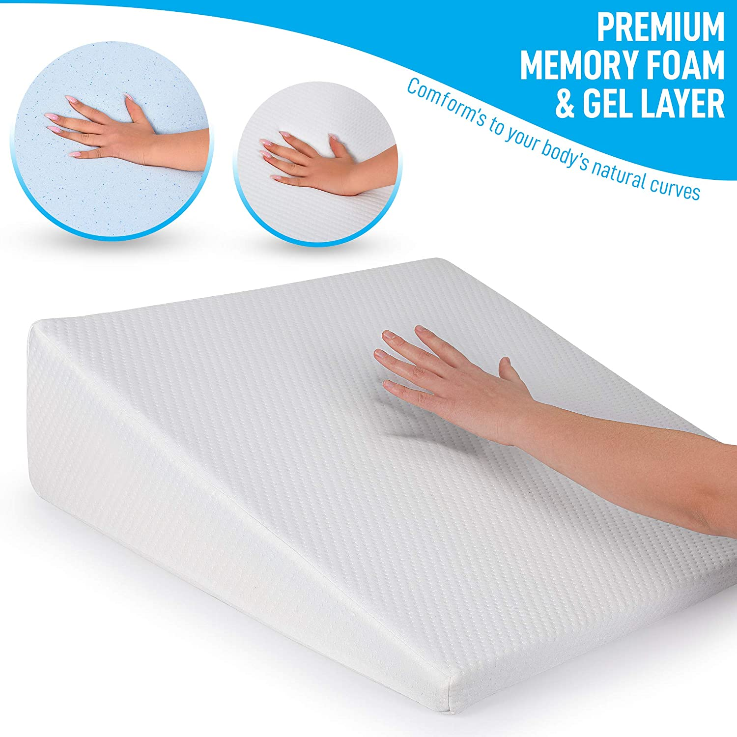 Ultra Soft Soft Removable Cover 8 inch Wedge Healthex Bed Wedge Pillow Cooling Gel Memory Foam Top