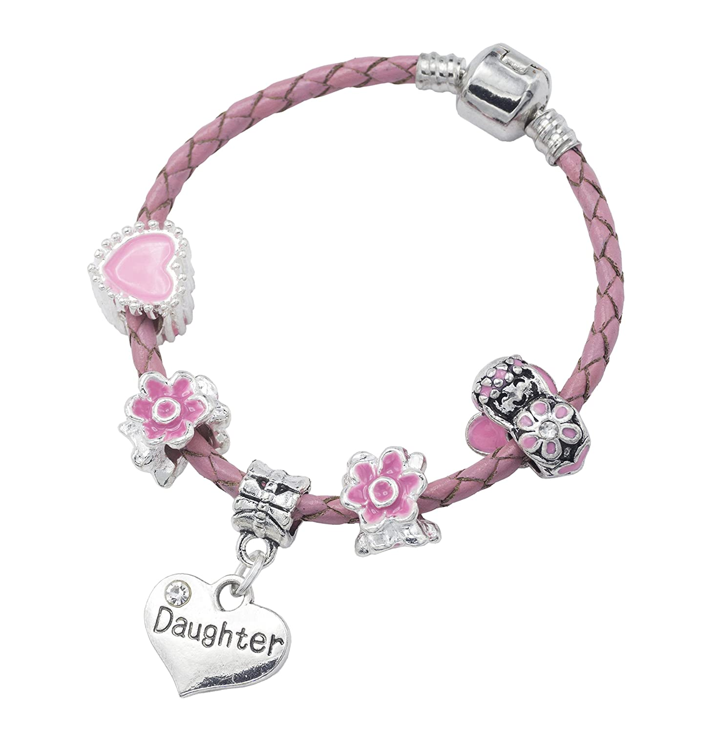 'Daughter' Pink Leather Charm Bracelet for Girls Presented in High Quality Gift Pouch Jewellery Hut BRPNKLTDAUGHTER