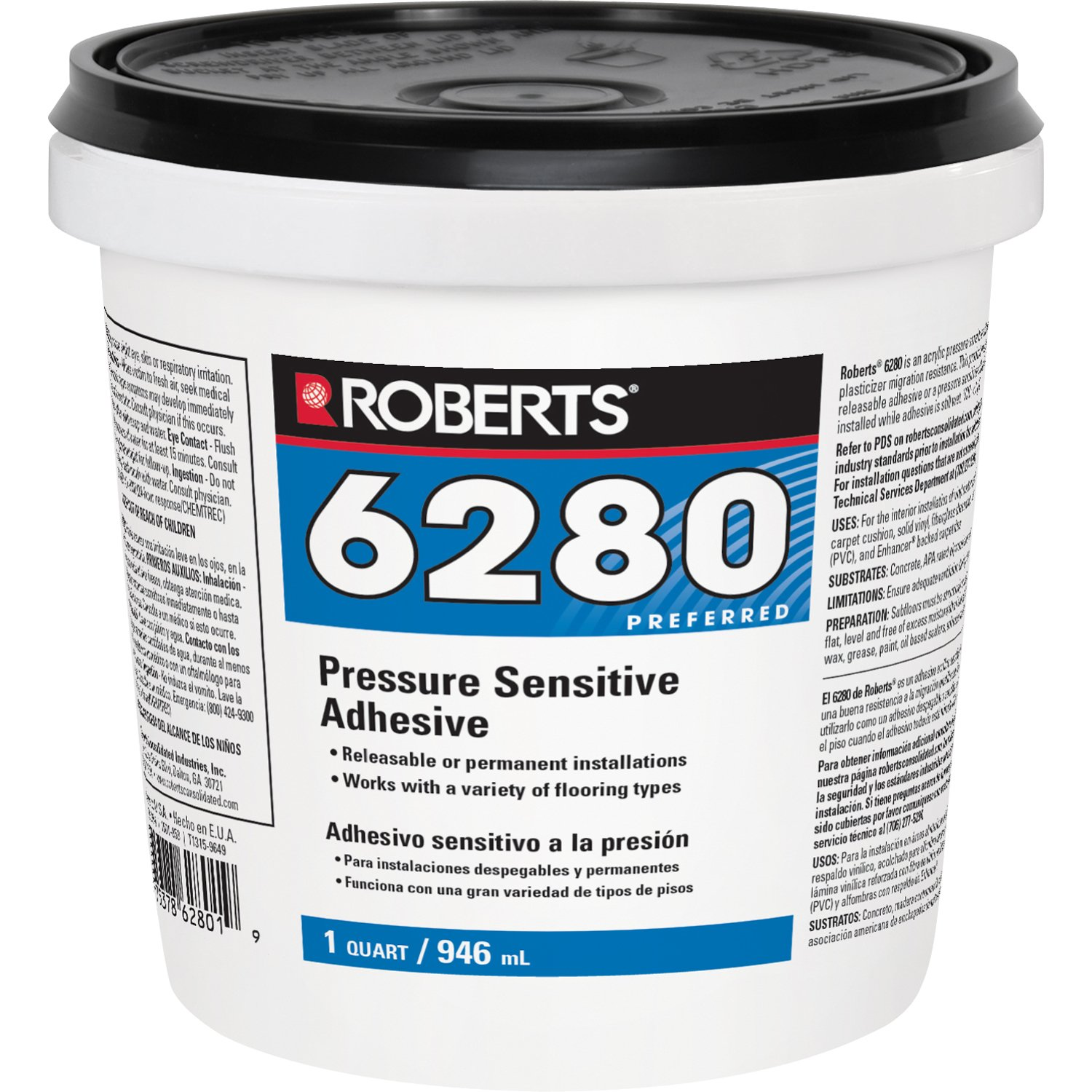 Roberts R6280-0 Adhesive for the Interior Installation Back Commercial Carpet Cushion, Fiberglass Reinforced Sheet Luxury Vinyl Tiles, 1 Quart by Roberts (Image #1)