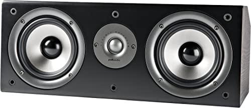 Polk Audio CS1 Series II Center Channel Speaker Unique Design Stand Alone or a Complement to Monitor 40, 60, and 70 Speakers Detachable Grille Black