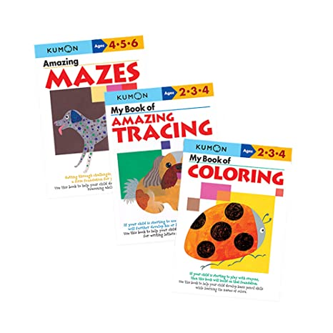 amazon com kumon workbook bundle ages 2 3 4 coloring tracing and