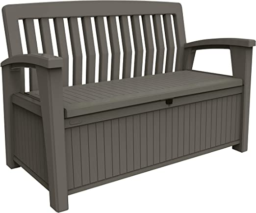 Keter Patio Bench - Banco Arcón Exterior, Capacidad 265 L, Color Topo: Amazon.es: Jardín