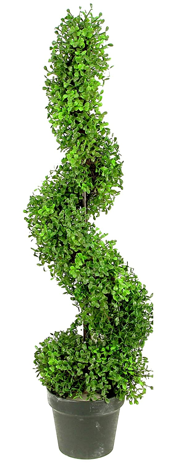 Admired By Nature 3' Artificial Boxwood Leave Spiral Topiary Plant Tree in Plastic Pot, Green/Two-Tone