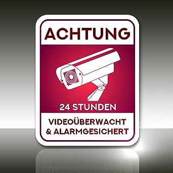 Aufkleber Achtung 24 Stunden Videouberwachung Und Alarmgesicher