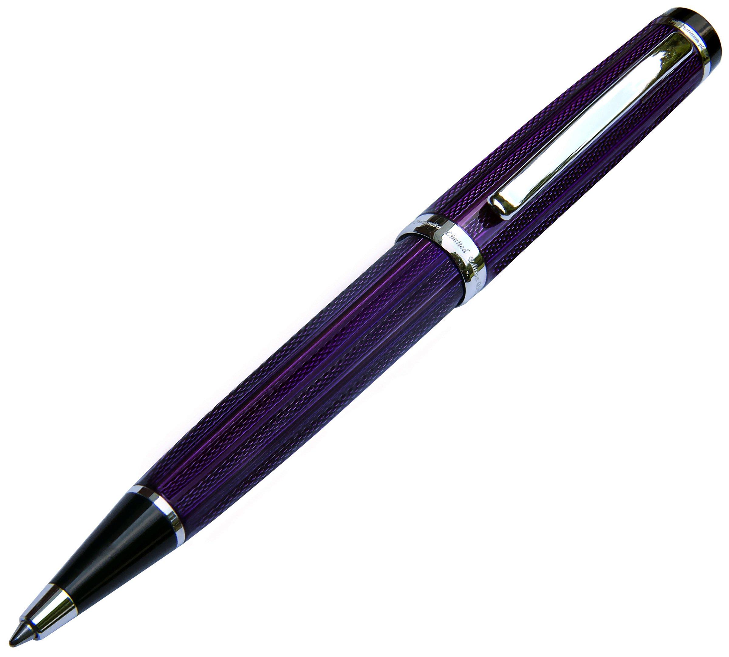 Xezo Incognito Brass Ballpoint Pen in Purple Metallic Color,