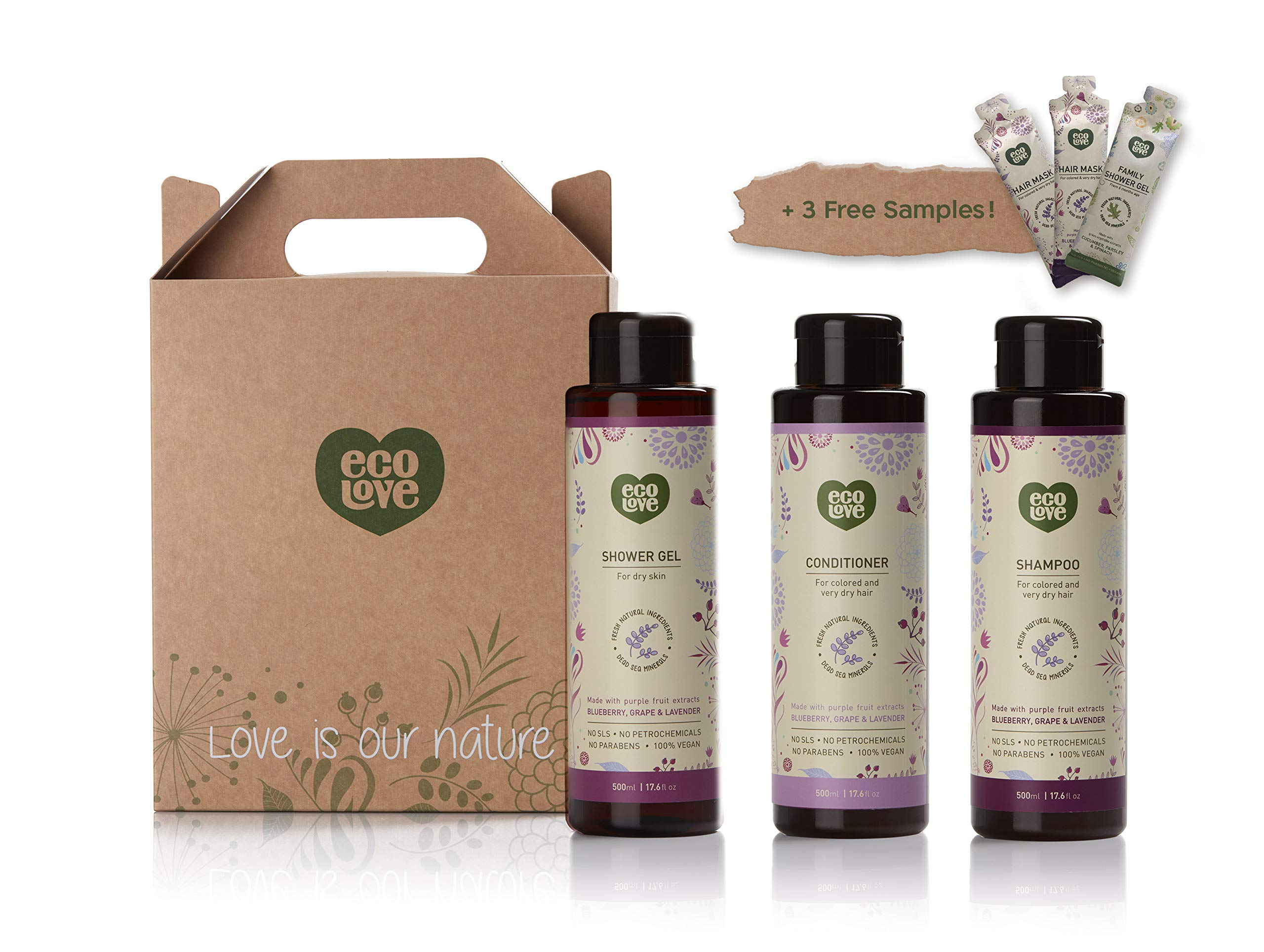 ecoLove Natural Shampoo, Conditioner and Body Wash Set (Pack of 3) with Organic Blueberry, Grape and Lavender Extract for Color Treated Hair Dry Damaged Hair and Dry Skin Vegan SLS Free (3 x 17.6 oz) by ecoLove