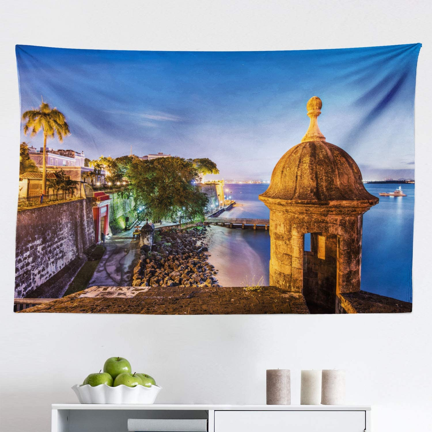 """Lunarable Puerto Rico Tapestry, Coast at Paseo de la Princesa Retro Style Architectural Elements Photography, Fabric Wall Hanging Decor for Bedroom Living Room Dorm, 45"""" X 30"""", Violet Beige"""