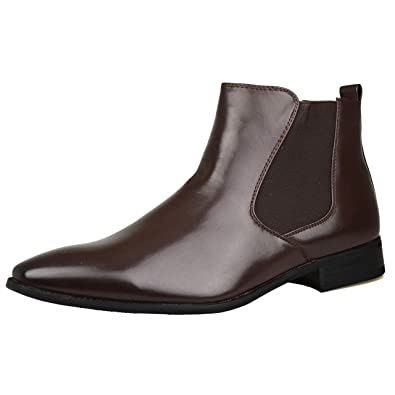 b2e1ed7888f7 Mens Brown Leather Smart Formal Casual Chelsea Boots Shoes UK SIZE 6 7 8 9  10