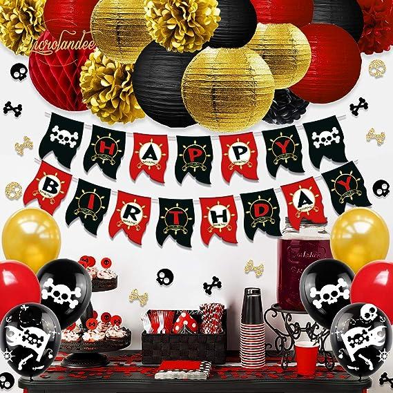 NICROLANDEE Decoraciones de Fiesta de cumpleaños Pirata ...