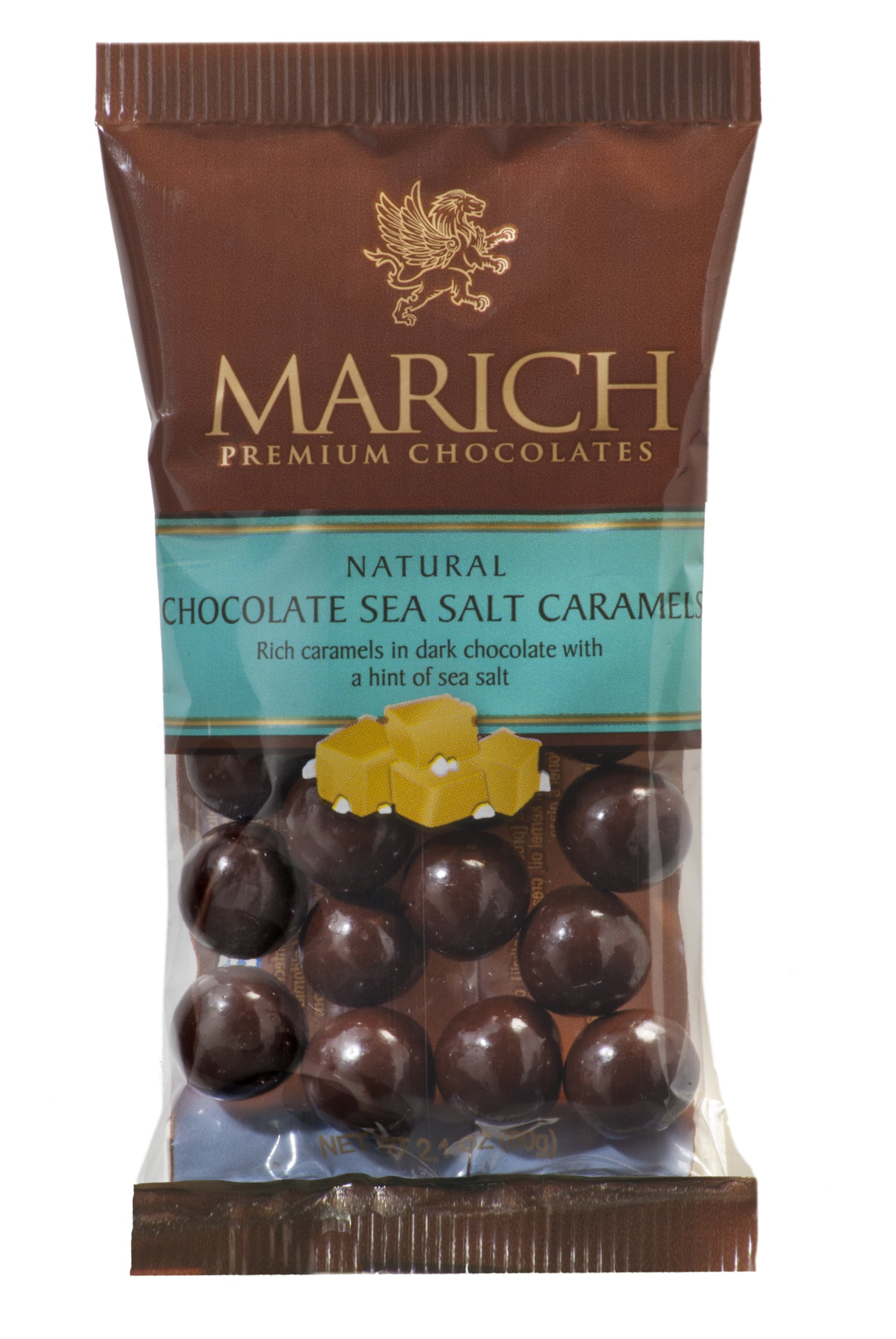 Marich Dark Choc Sea Salt Caramels, 2.1-Ounce (Pack of 12) by Marich