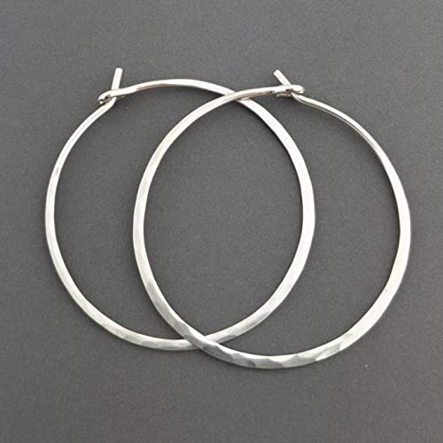 "d92b57466 Image Unavailable. Image not available for. Color: 1.25"" Thick  Hammered Sterling Silver Metal Hoop Earrings ..."