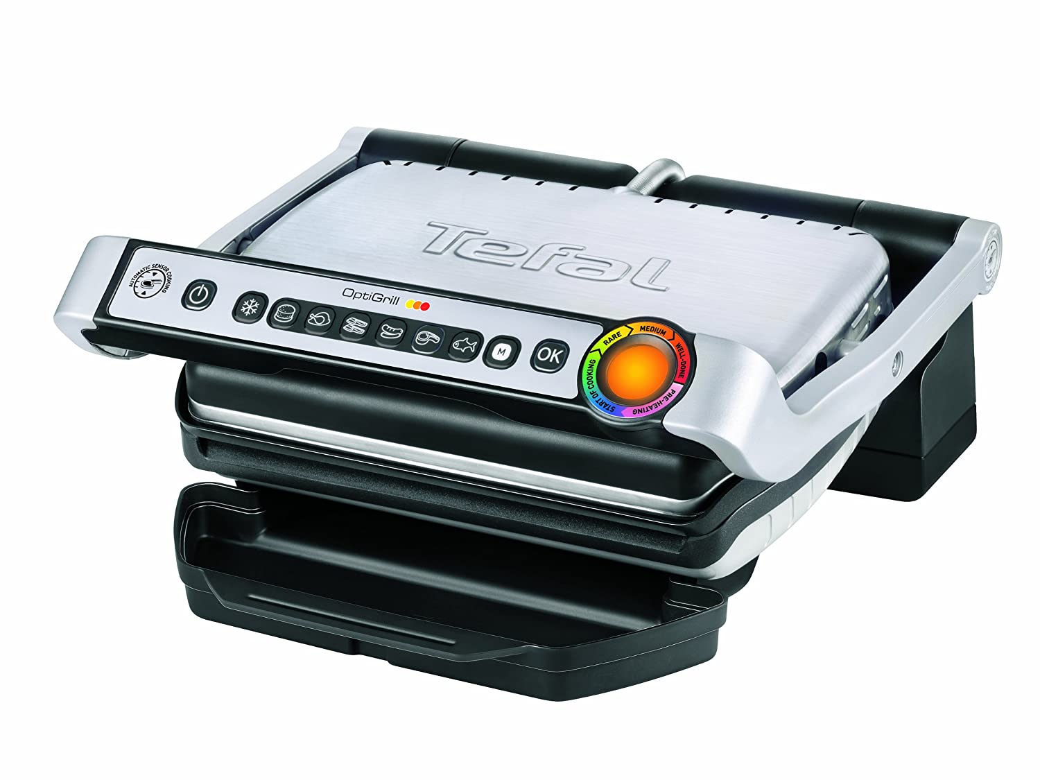Tefal OptiGrill with Automatic Thickness and Temperature Measurement, 2000 W - Silver GC701D40