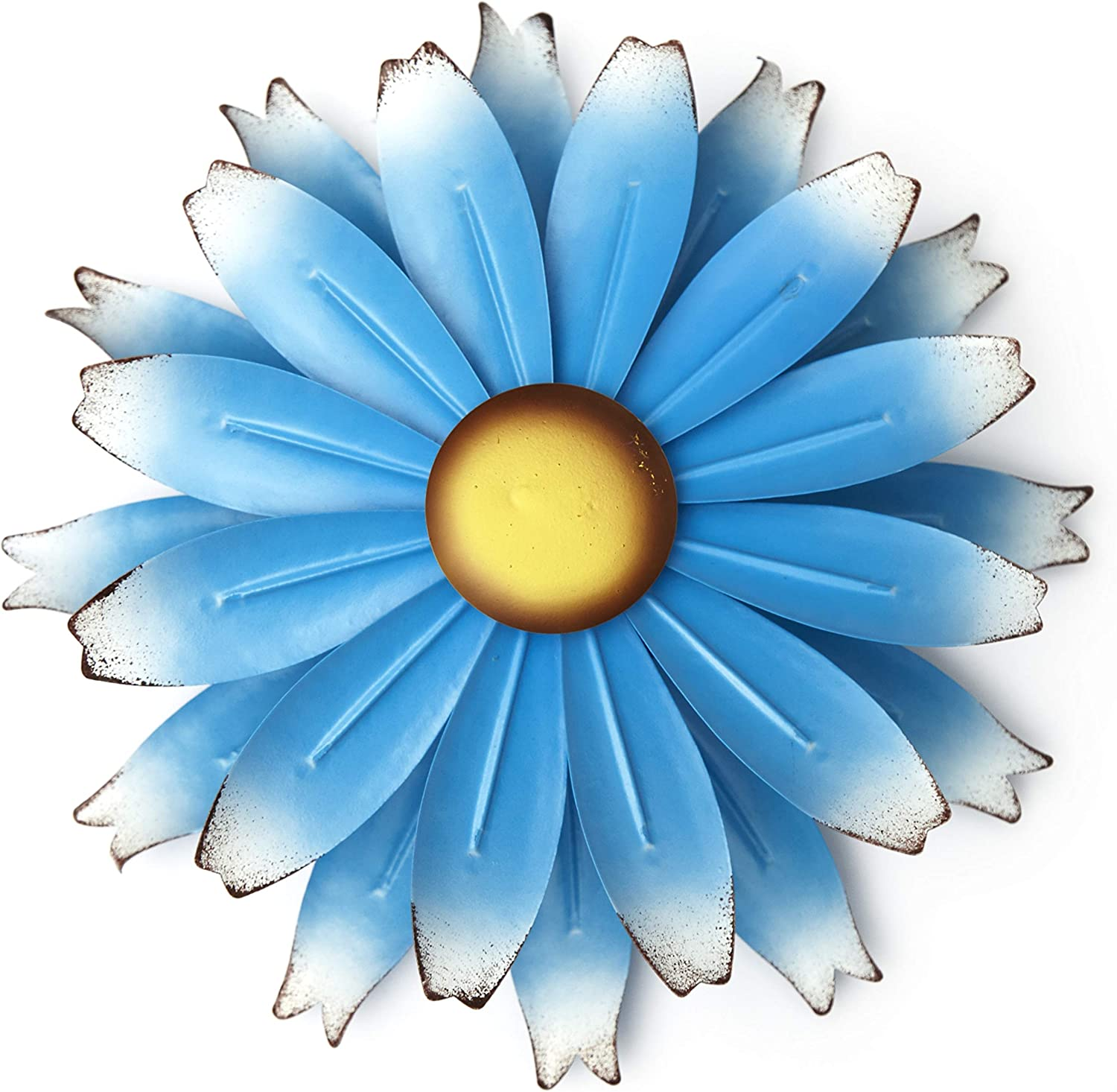 The Lakeside Collection Metal Flower Spinner for Walls - Kinetic Floral Pinwheel Windspinner - Blue
