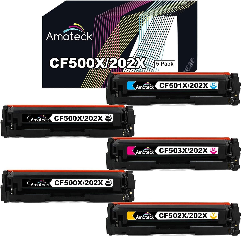 Amateck Compatible Toner Cartridge Replacement for HP CF500X CF501X CF502X CF503X (HP 202X) High Yield 5 Pack Black Cyan Magenta Yellow for Color Laserjet Pro M254dw, MFP M281cdw, MFP M281fdw