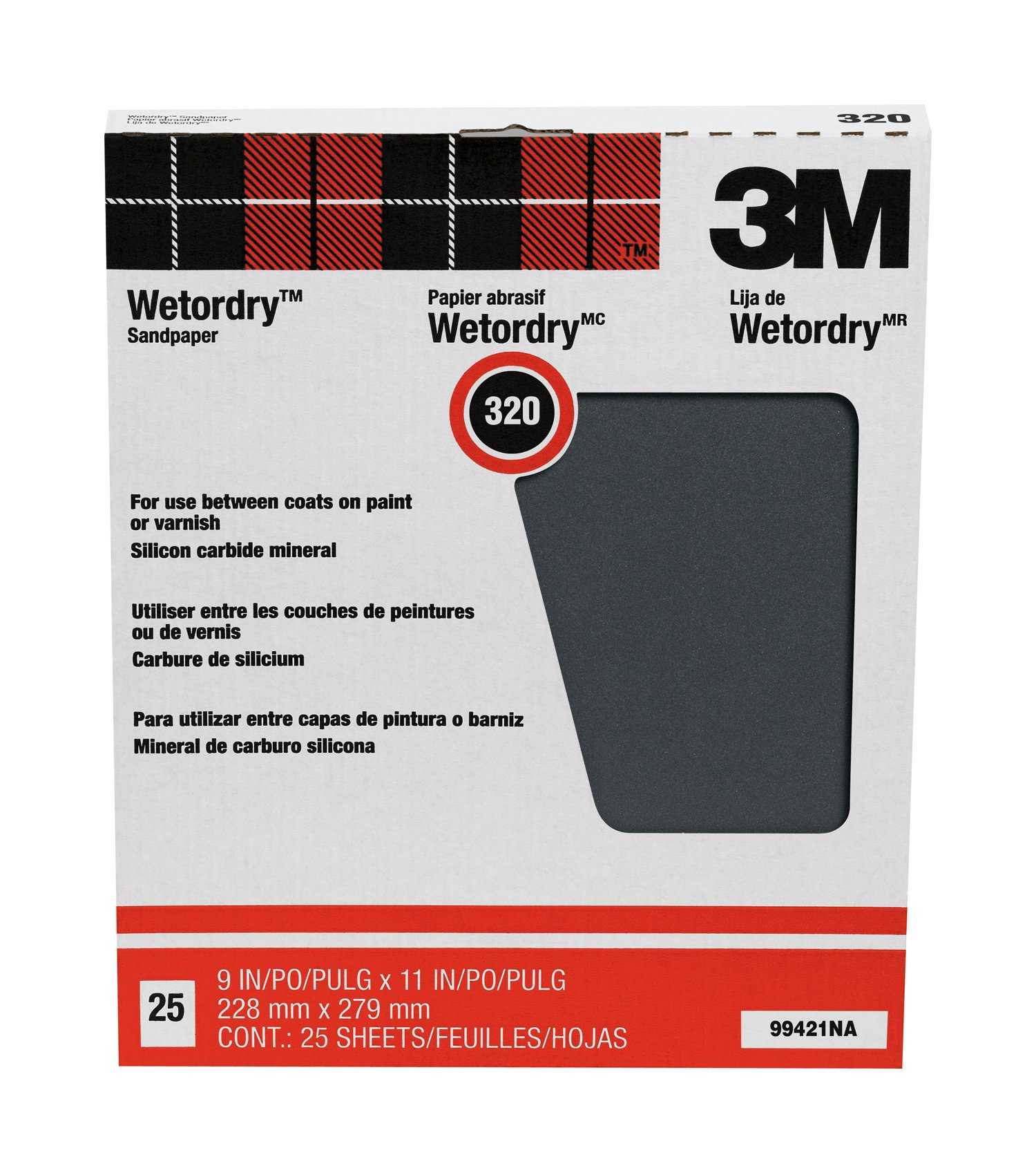 3M Pro-Pak Wetordry Between Finish Coats Sanding Sheets, 320A-Grit, 9-Inch by 11-Inch, 25-Pack by 3M