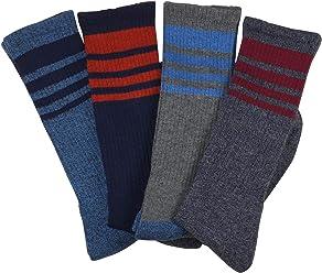 Buffalo David Bitton Mens Graphic Rib Crew Socks 4 Pk-Nvy/Gry/Stripe