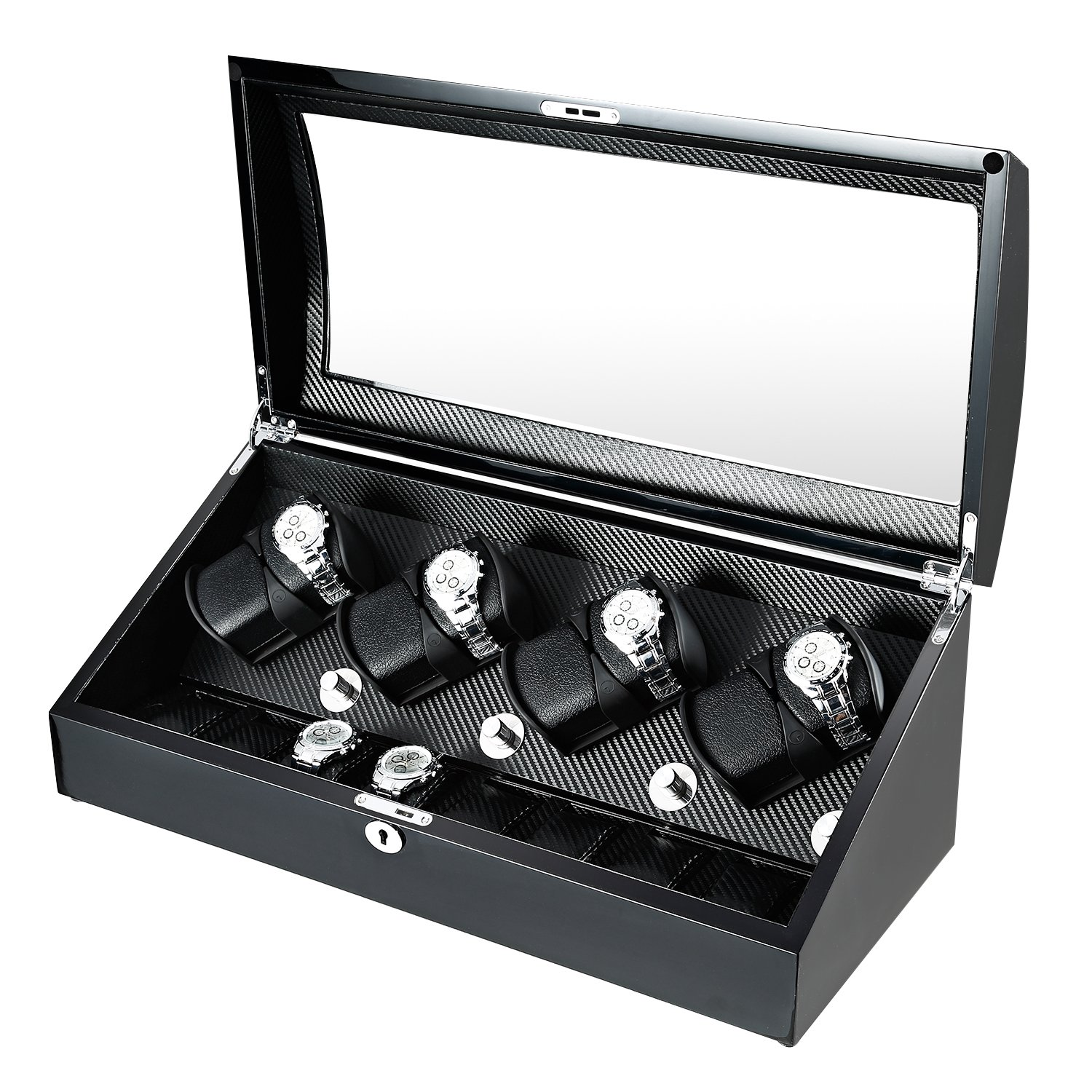 OLYMBROS Wooden Quad Automatic Watch Winder 8+8 Storage Boxes for 16 Watches with LED Light by Olymbros