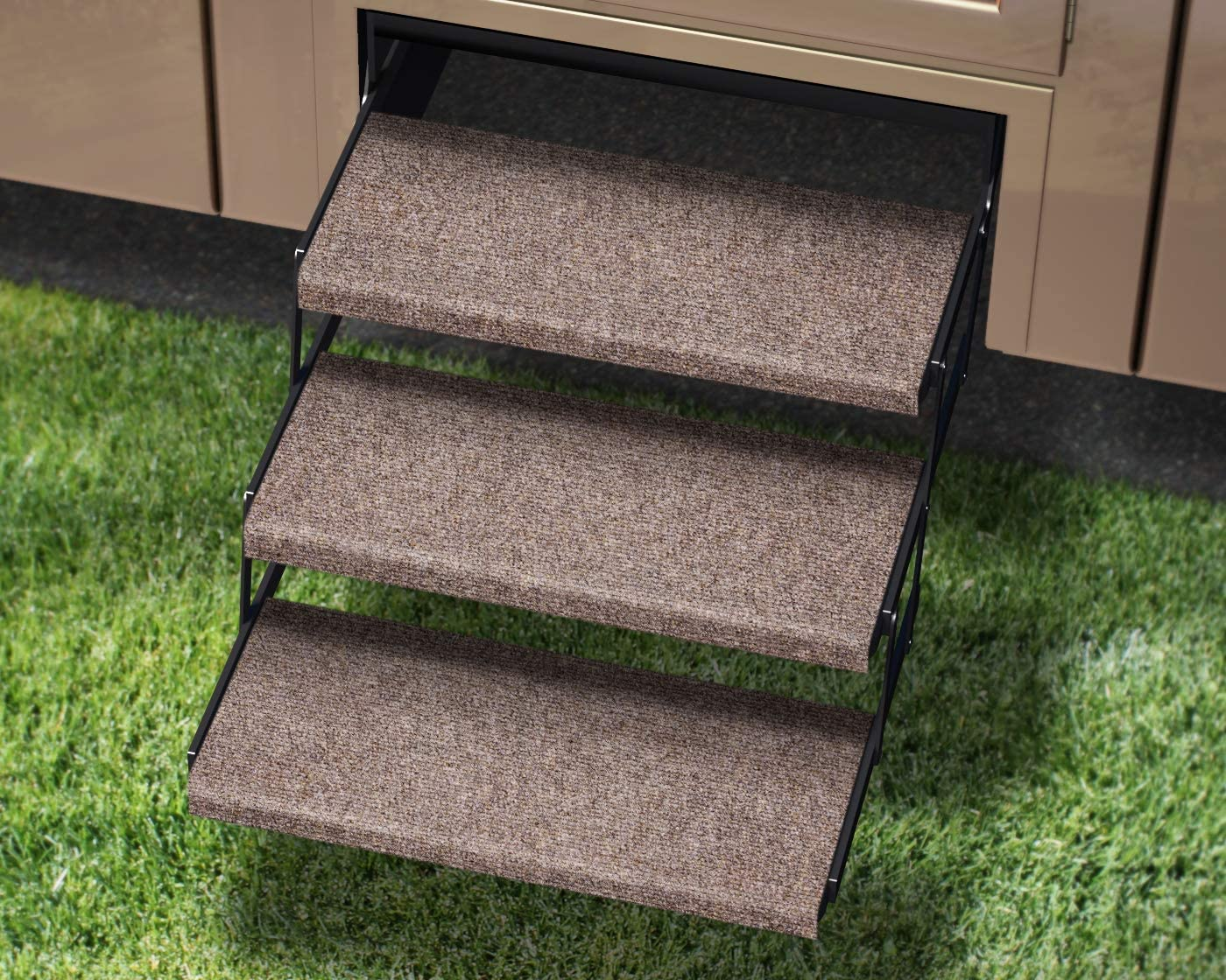 Wide Prest-O-Fit 3-Pack 2-4077 Outrigger Jumbo RV Step Rug Walnut Brown 23 in