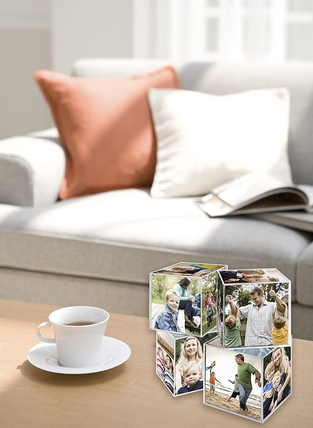MCS 3.25x3.25 Inch Clear Plastic 6 Sided Photo Cube 4-Pack Clear 65750