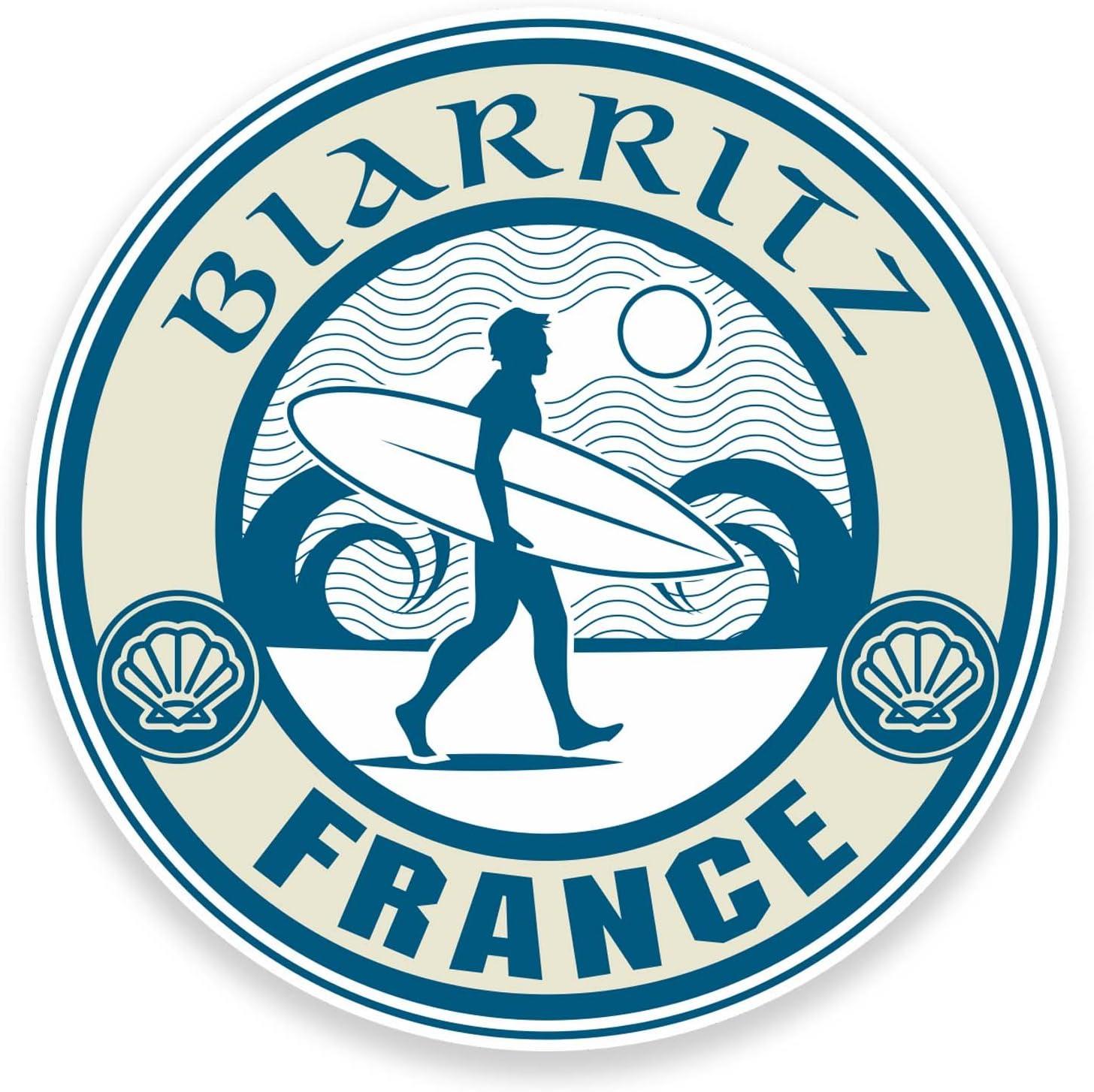 Biarritz France Lot de 2 autocollants en vinyle pour voiture ou ordinateur portable Voyage Surf Cool #9244 10 cm de large x 10 cm de haut