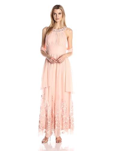 90c287109ee6 Jessica Howard Women's Beaded Yoke Gown at Amazon Women's Clothing store: