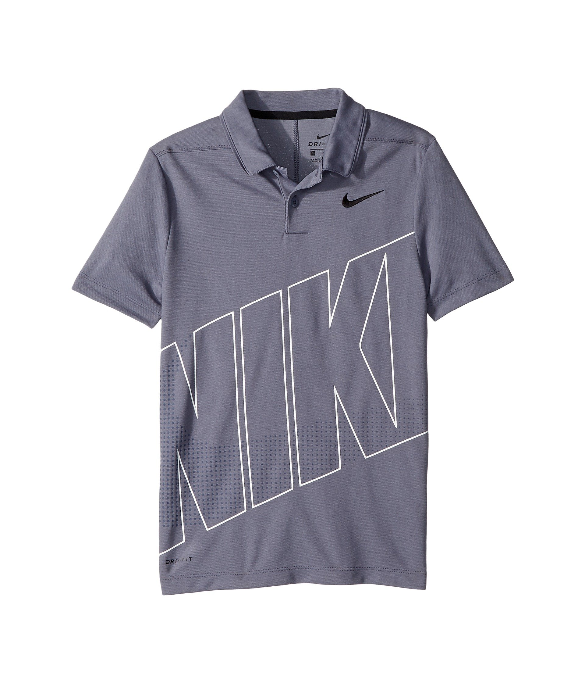 Nike New Boys DRI FIT Essential GRFX 2 Golf Polo (Gray, Small)