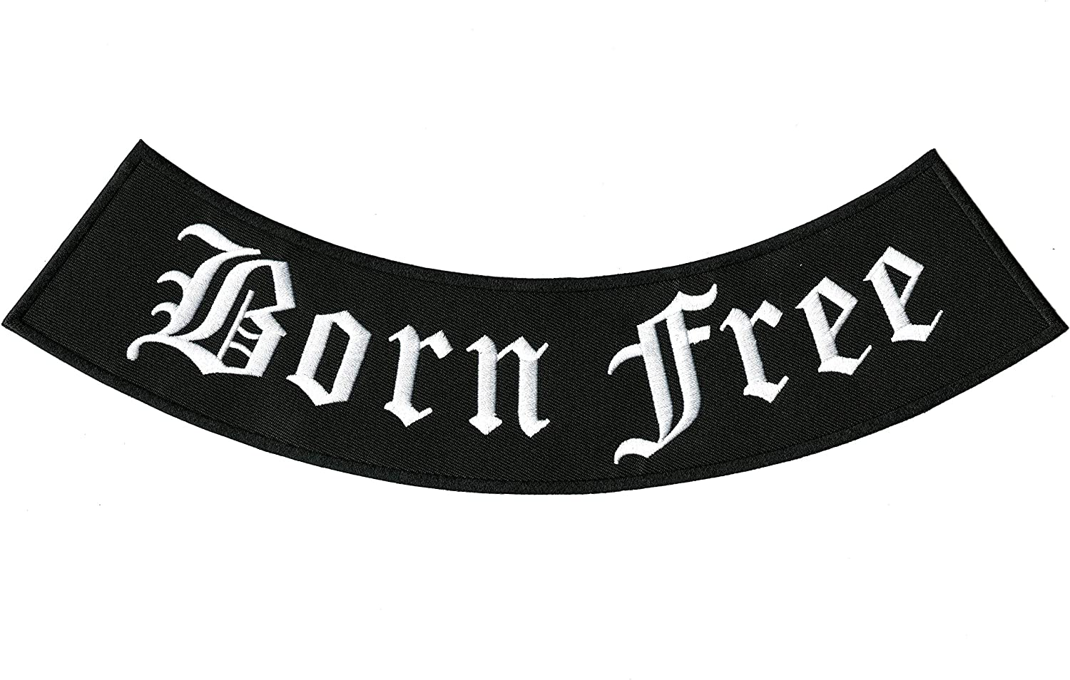 Born Free White on black Iron on Top Rocker Patch for Motorcycle Biker Vest