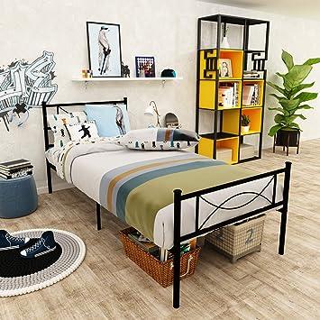 Twin size Metal Bed Frame Platform Bedroom Mattress Foundation w//Headboard 6 Leg