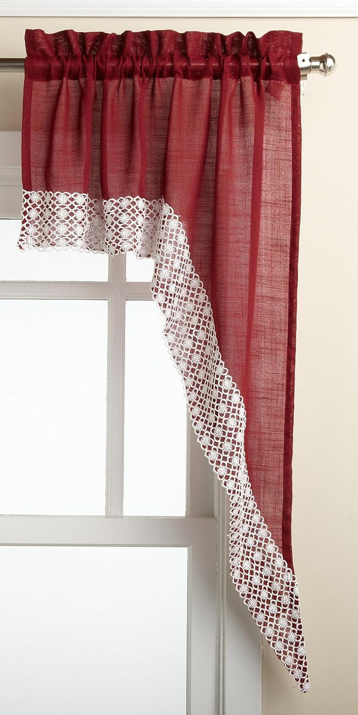 LORRAINE HOME FASHIONS Salem 60-inch x 38-inch Tailored Swag Pair, Burgundy