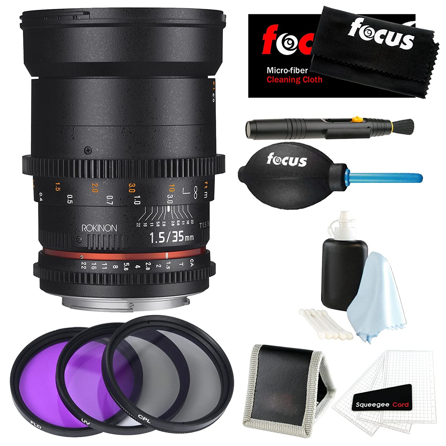 Rokinon DS 35mm T1.5 Cine Lens (DS35M-C) for EF + Accessory and Filter Bundle