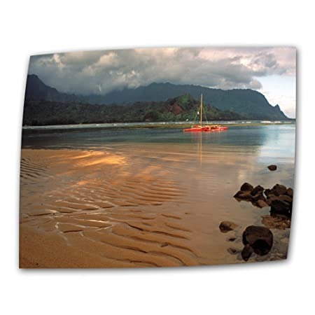 ArtWall Hanalei Bay at Dawn 32 by 48-Inch Flat Rolled Canvas by Kathy Yates with 2-Inch Accent Border