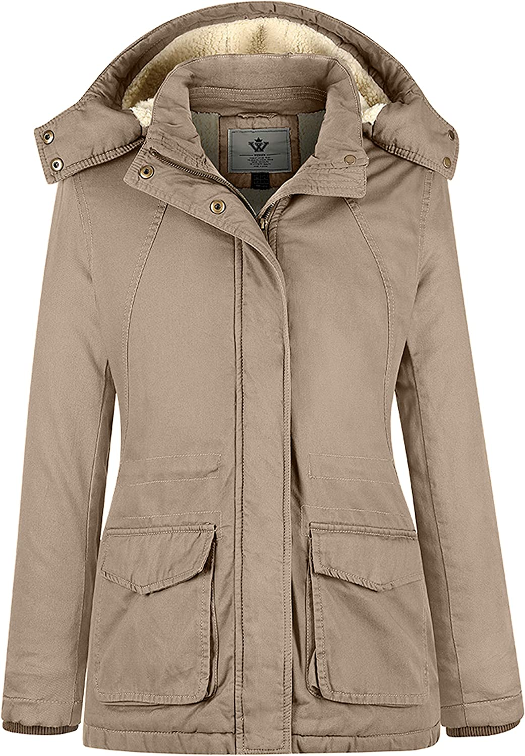 WenVen Women's Winter Thickened Warm Sherpa Lined Hooded Cotton Jacket