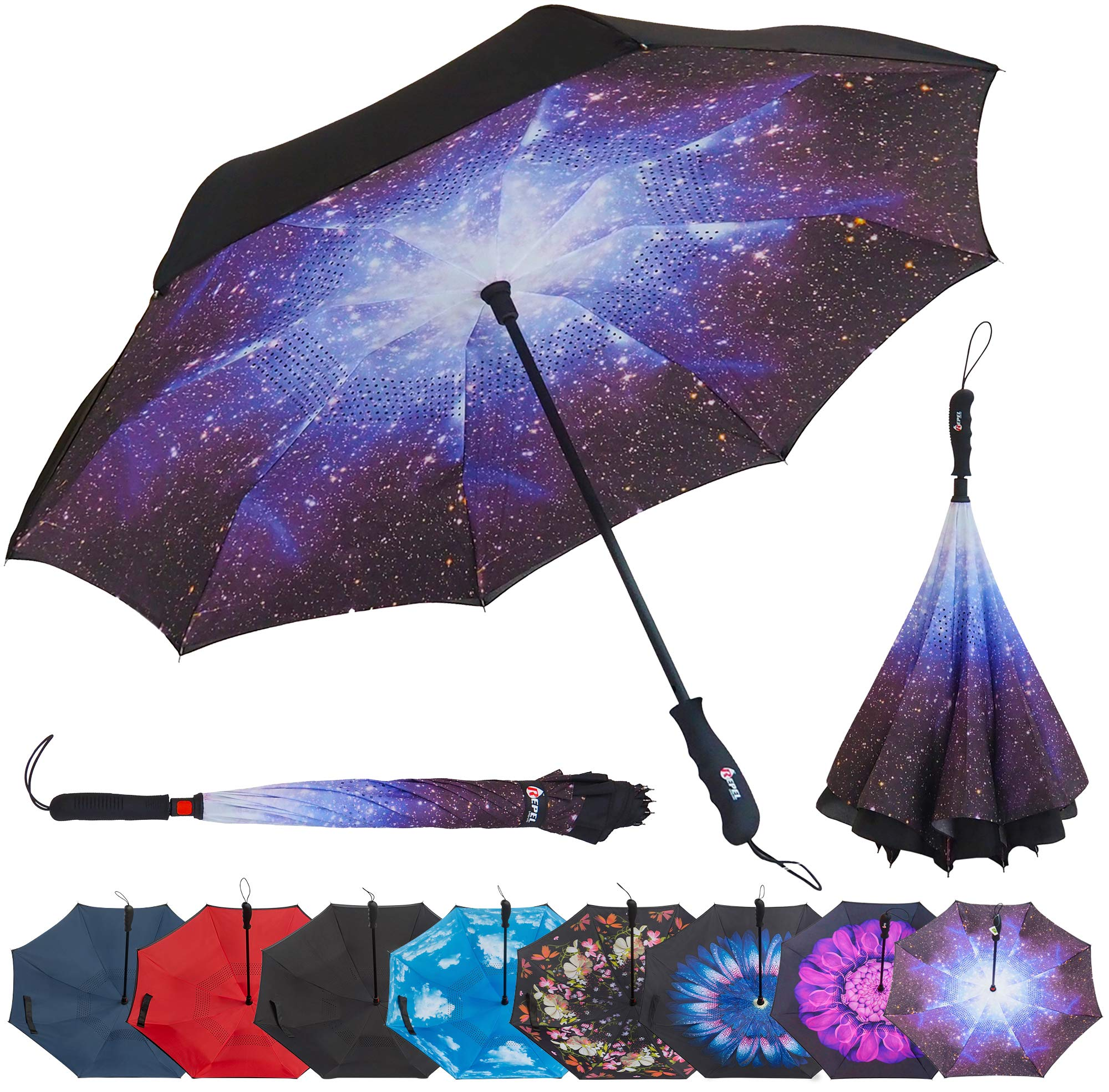 Repel Reverse Folding Inverted Umbrella with 2 Layered Teflon Canopy with Reinforced Fiberglass Ribs (Starry Night) by Repel Umbrella