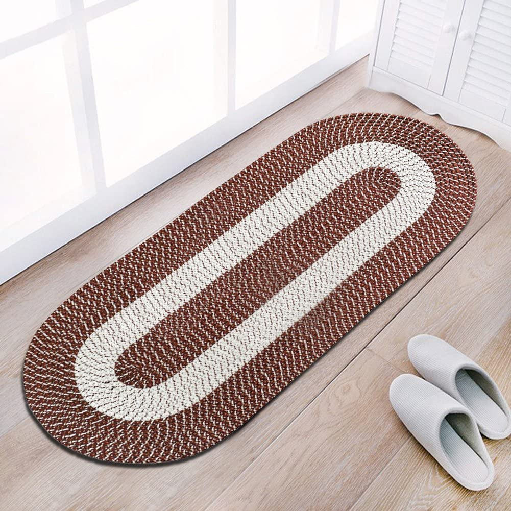 Braided Rug Runner, Traditional Rustic Reversible Oval Braided Accent Rug 24''Wx60''L, Washable Braided Indoor Outdoor Area Rug Floor Carpet for High Traffic Areas (Red Runner)