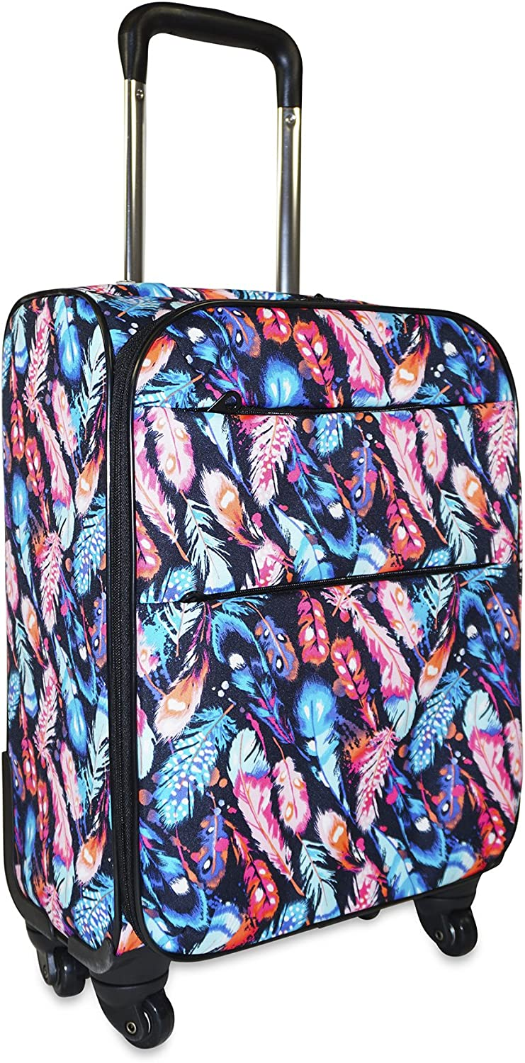 Ever Moda Peacock Feather 360 Spinner Luggage Carry On 20-inch