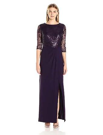 Alex Evenings Women S Long Column Dress With Drape Detail